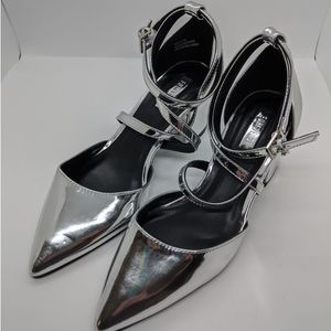 Silver Forever 21 Pointed Toe Block Heels